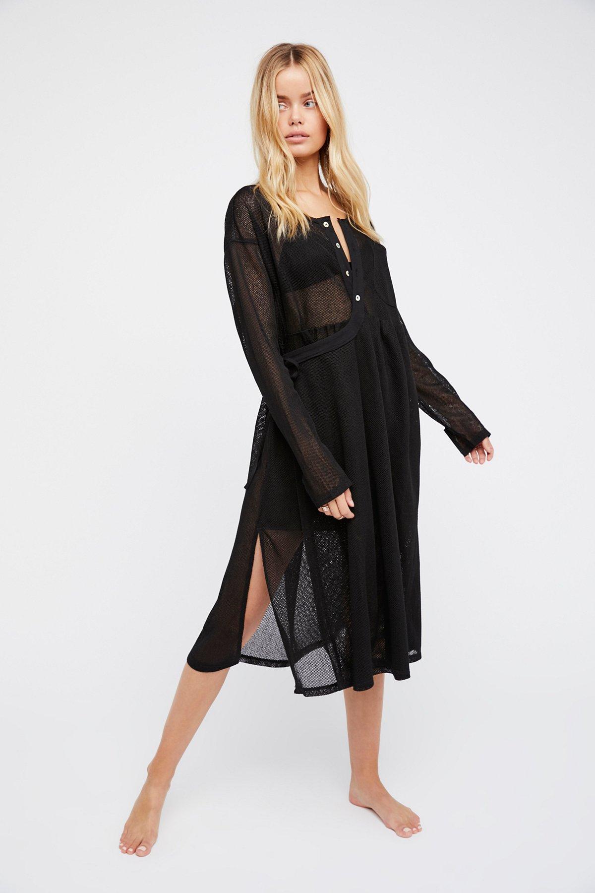 Sunday Market纯色网纱连衣裙