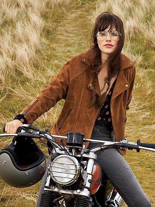 Product Image: Drapey Suede Moto Jacket