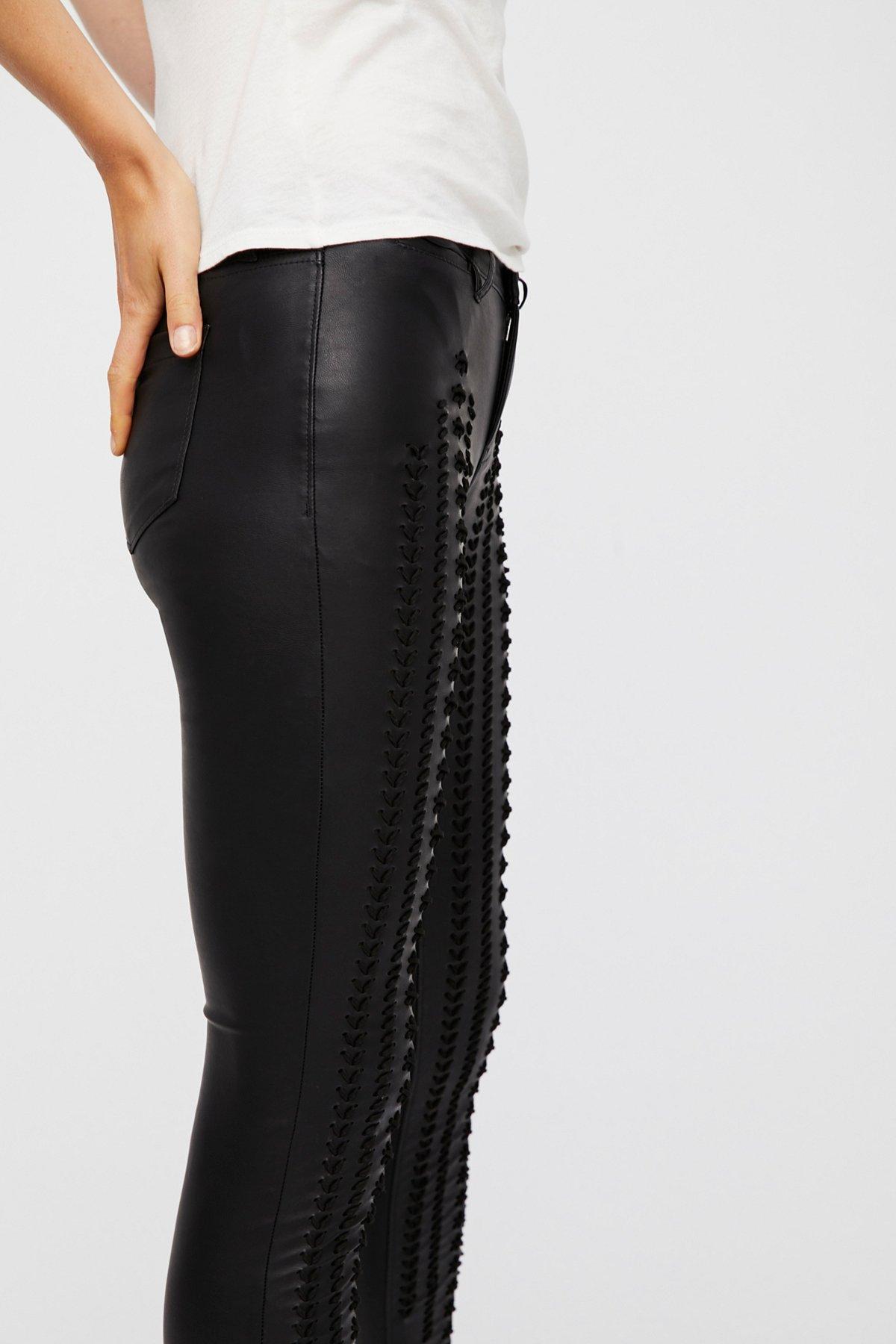 Vegan Leather Lattice Skinny Pants