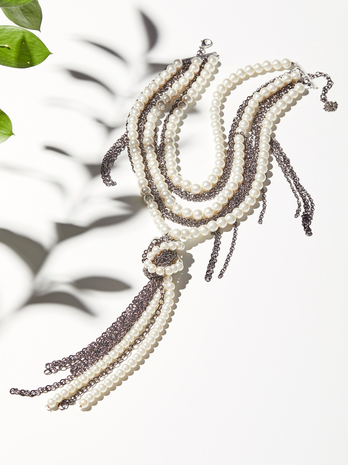 Pearl x Chain Knot Necklace