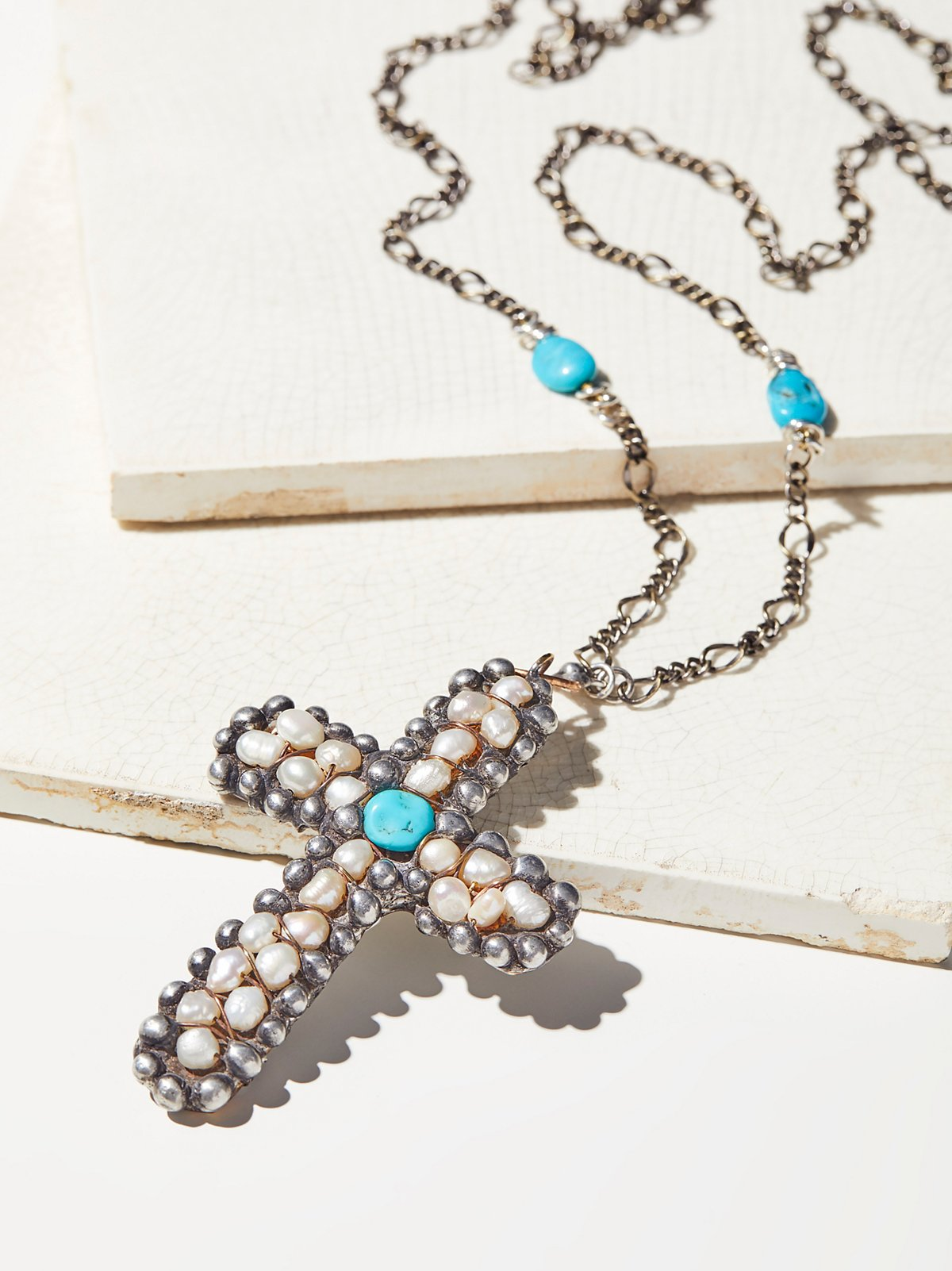 Turquoise x Pearl Cross Pendant