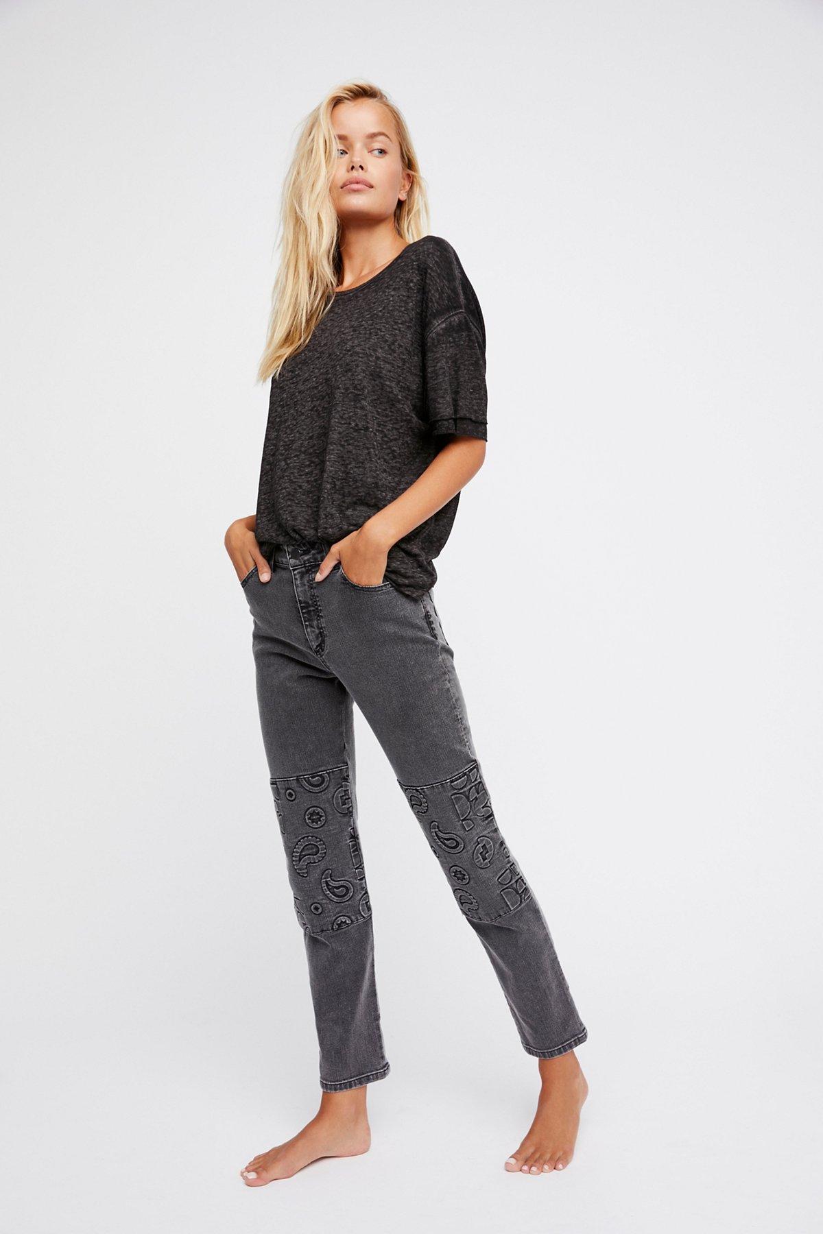 Embossed Paisley Patti Straight Jeans