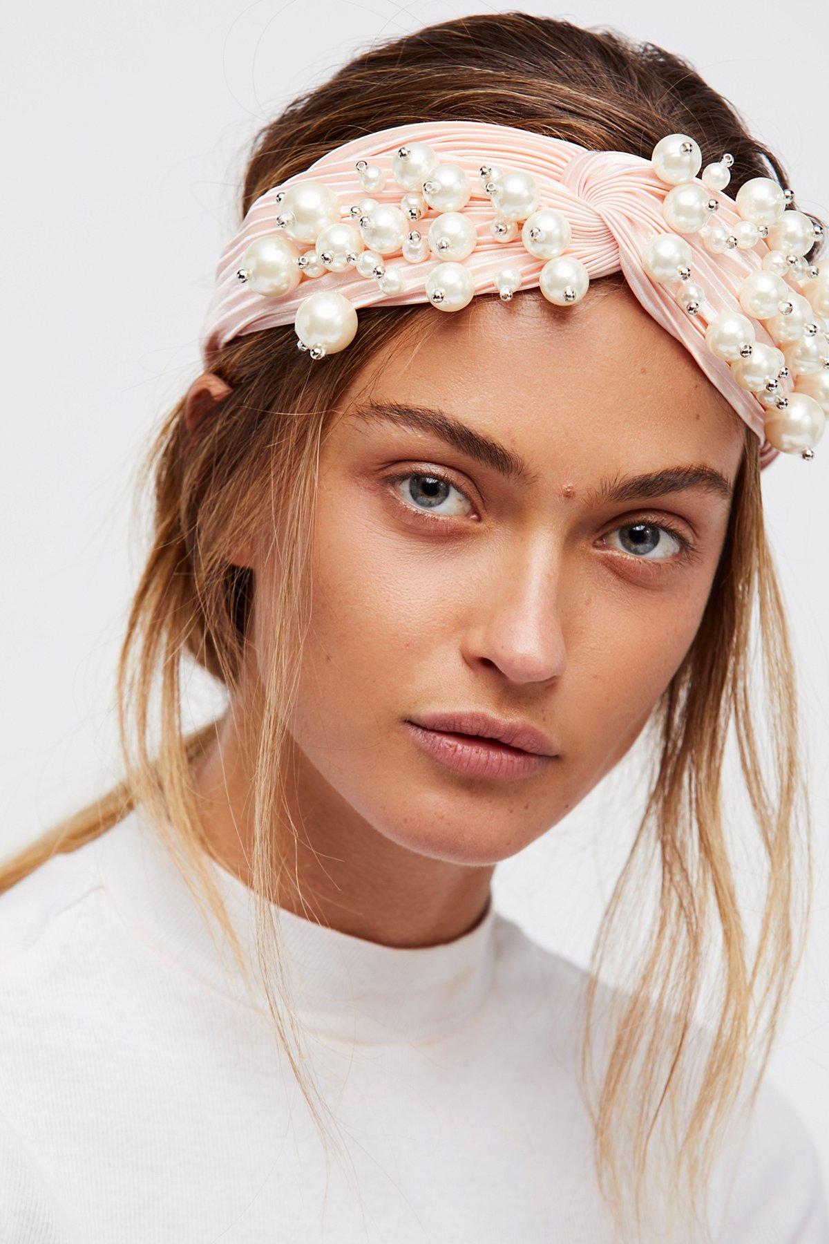褶饰珍珠头巾式发带