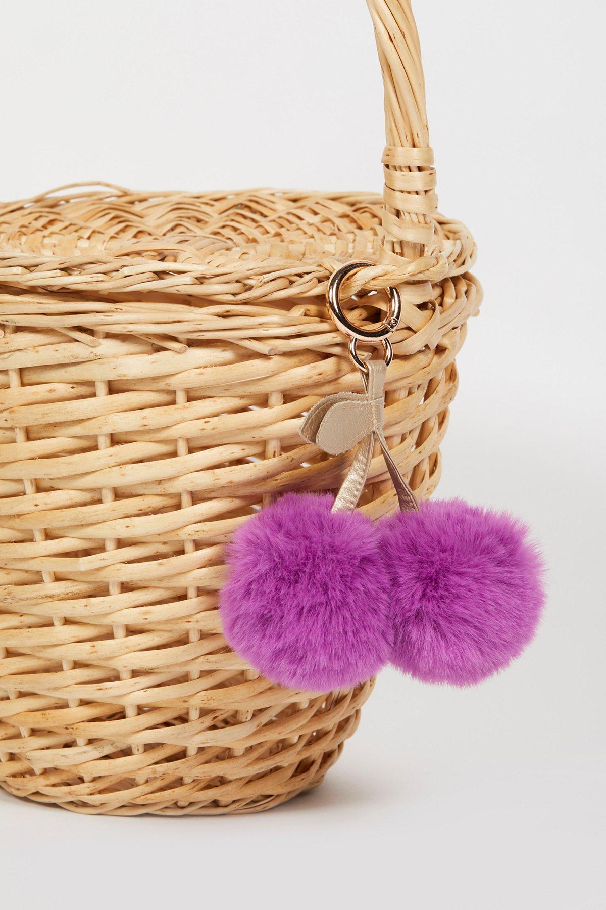 Faux Fur Cherry Pompom Bag Charm
