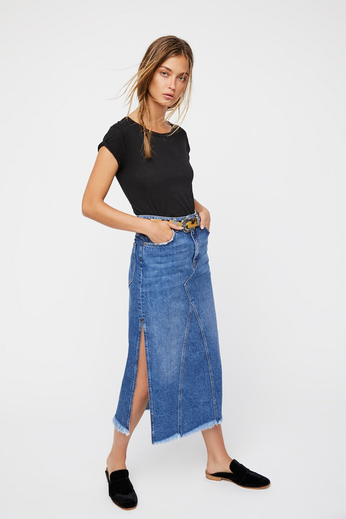 Walk in the Park Denim Midi Skirt
