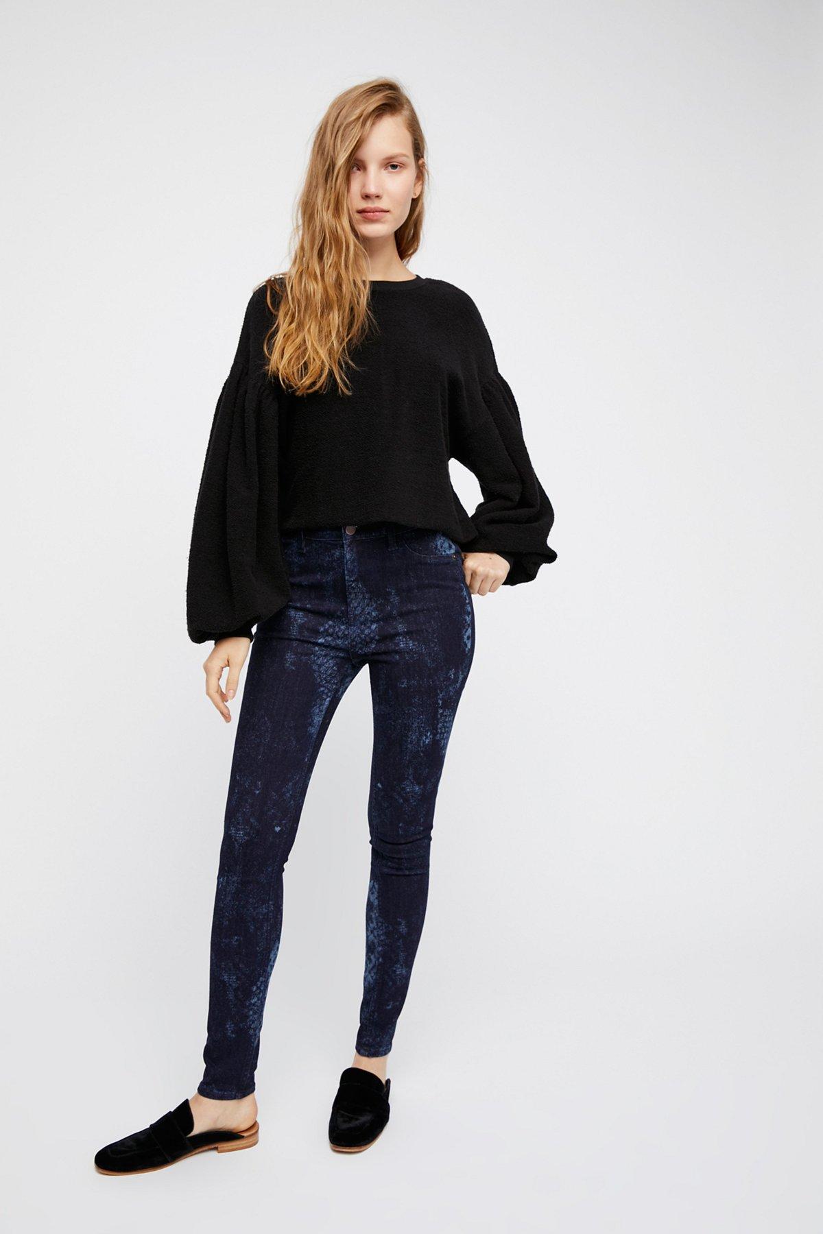 Long & Lean蕾丝蛇纹牛仔裤
