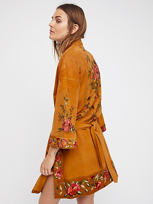 Product Image: Floral Suede Kimono Jacket