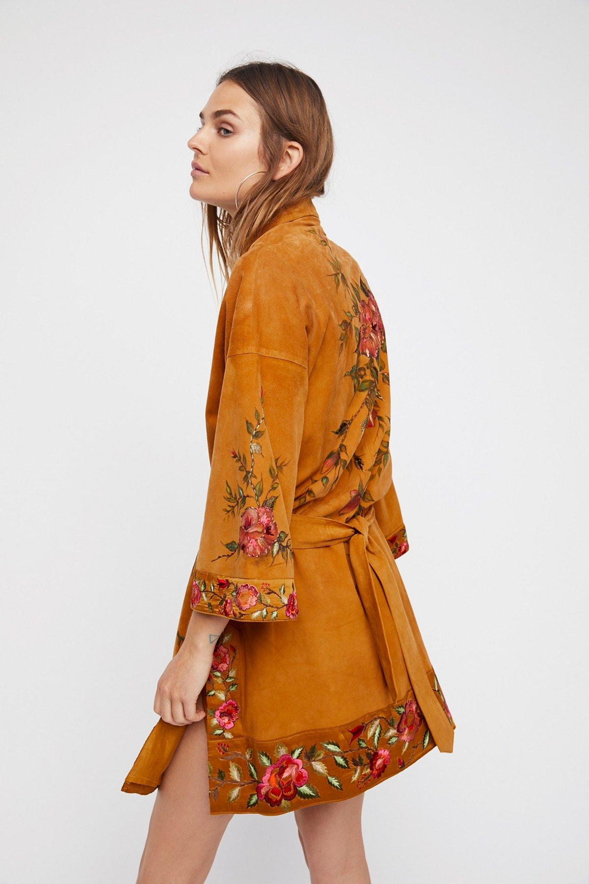 Floral Suede Kimono Jacket