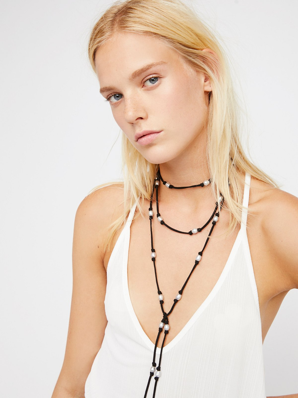 Freshwater Pearl Suede Wrap Necklace