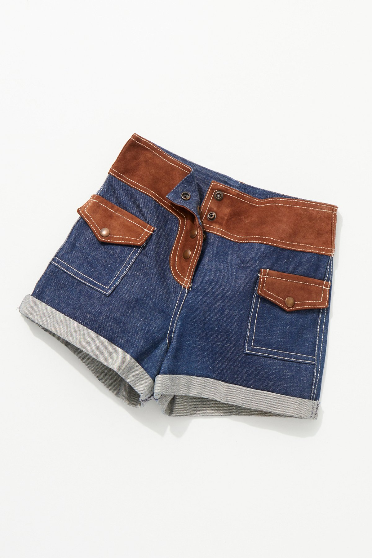Vintage 1970s Suede and Denim Shorts