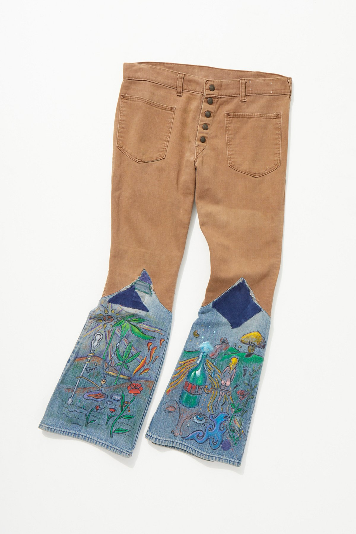 Vintage 1960s Hand Painted Sailor Flares