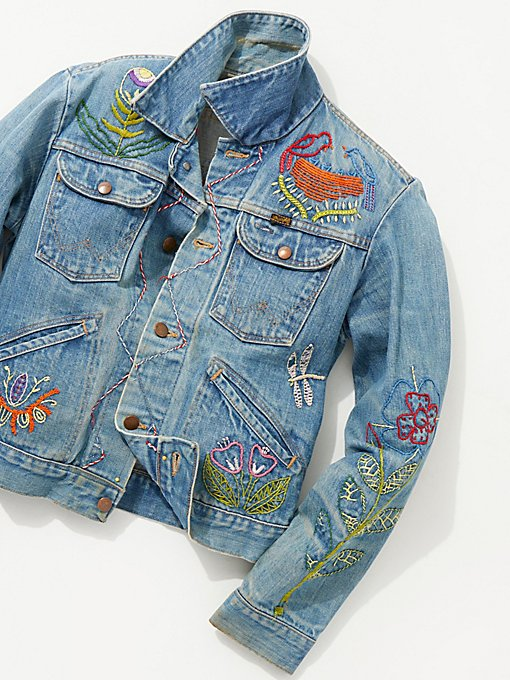 Product Image: Vintage 1970s Hand Embroidered Denim Jacket
