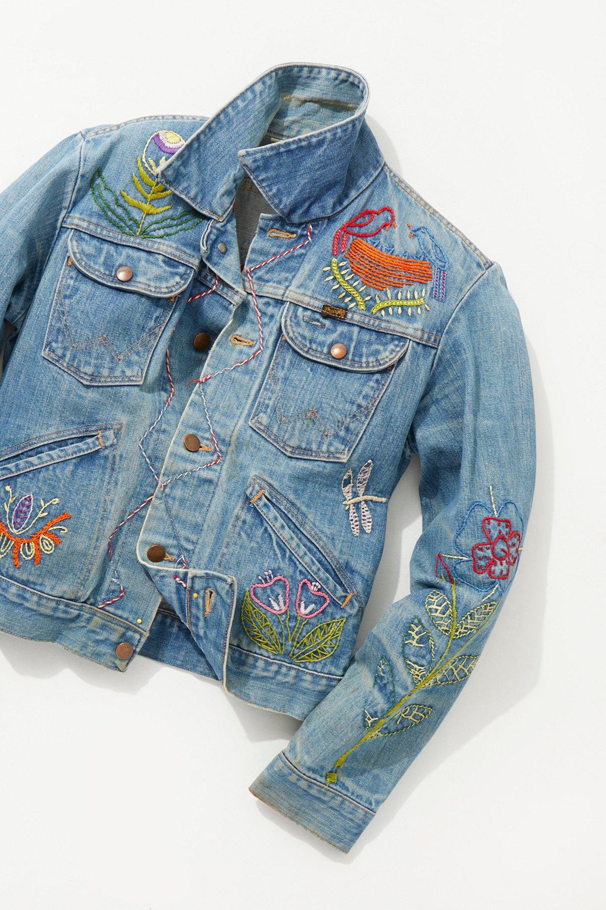 Vintage loves s hand embroidered denim jacket