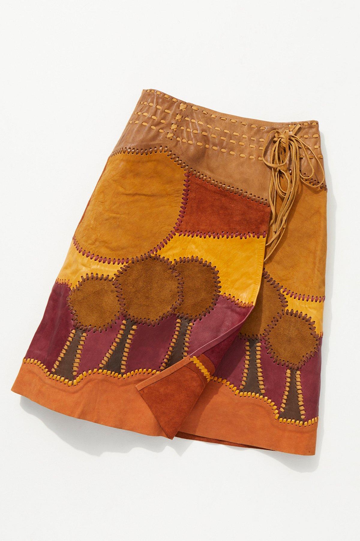 Vintage 1960s Handmade Suede Patchwork Skirt