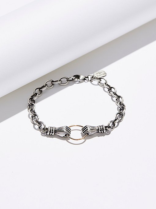 Product Image: Sterling & 14k Hand in Hand Bracelet