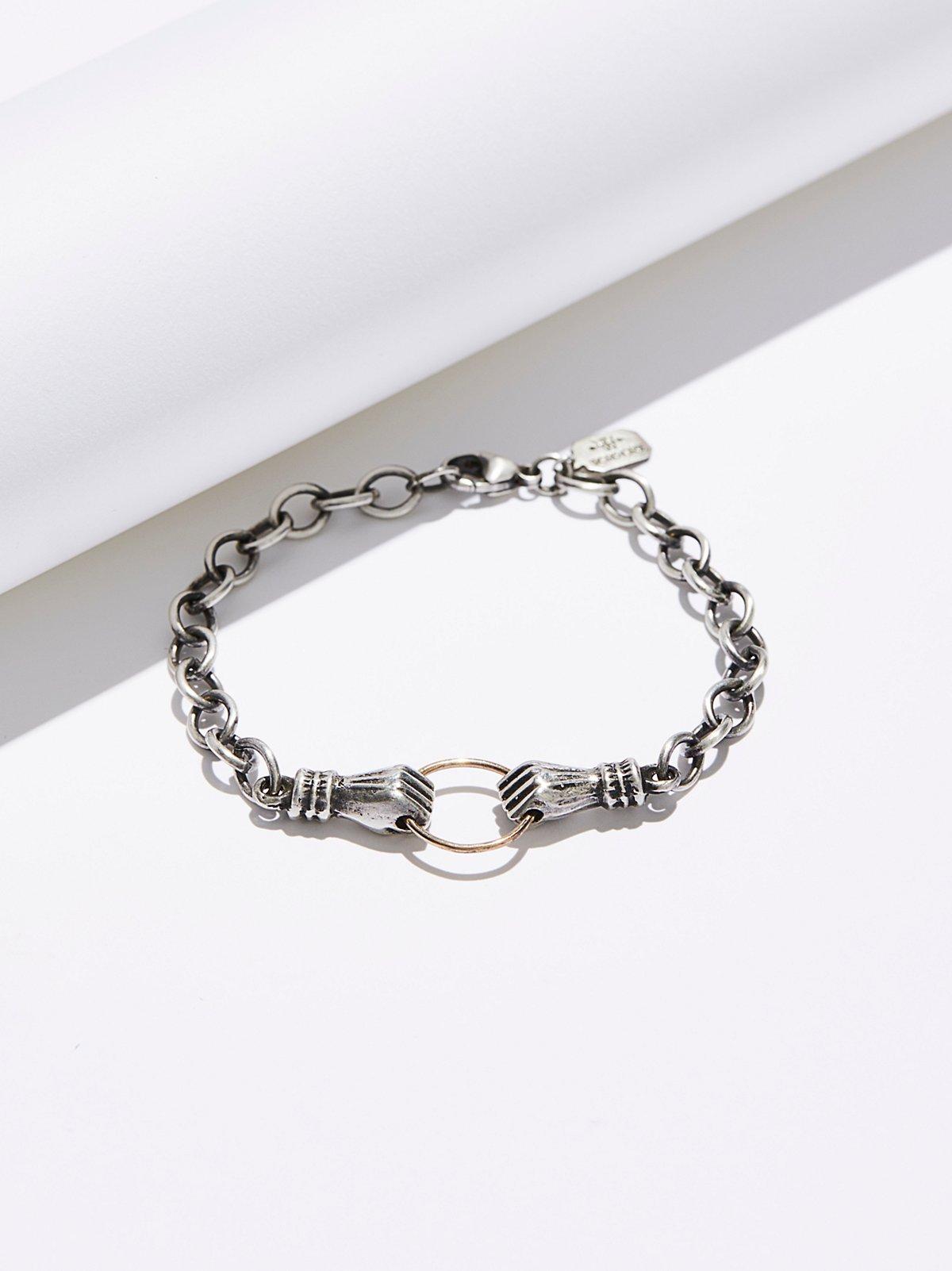 Sterling & 14k Hand in Hand Bracelet