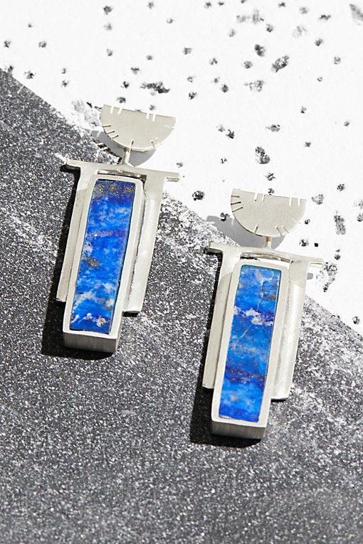Product Image: Sterling Art Deco Inlaid Stone Earrings