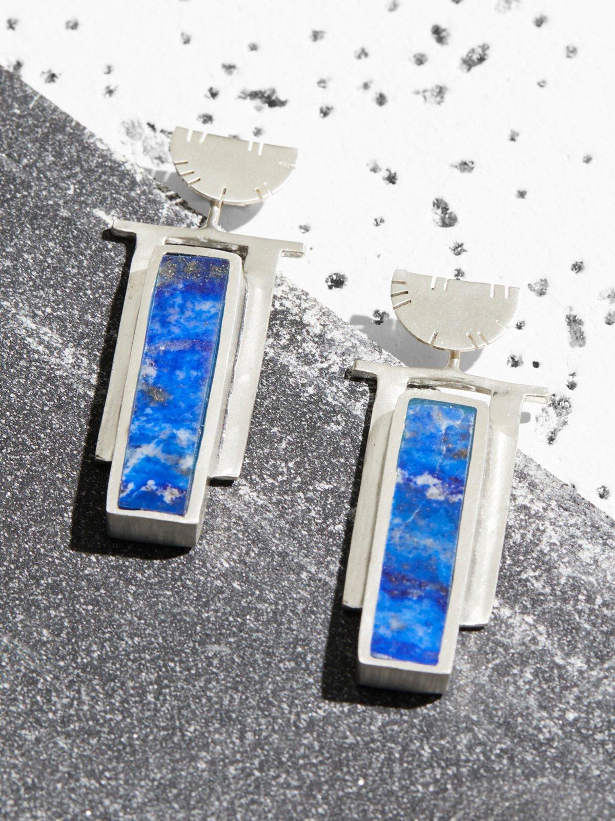 Sterling Art Deco Inlaid Stone Earrings