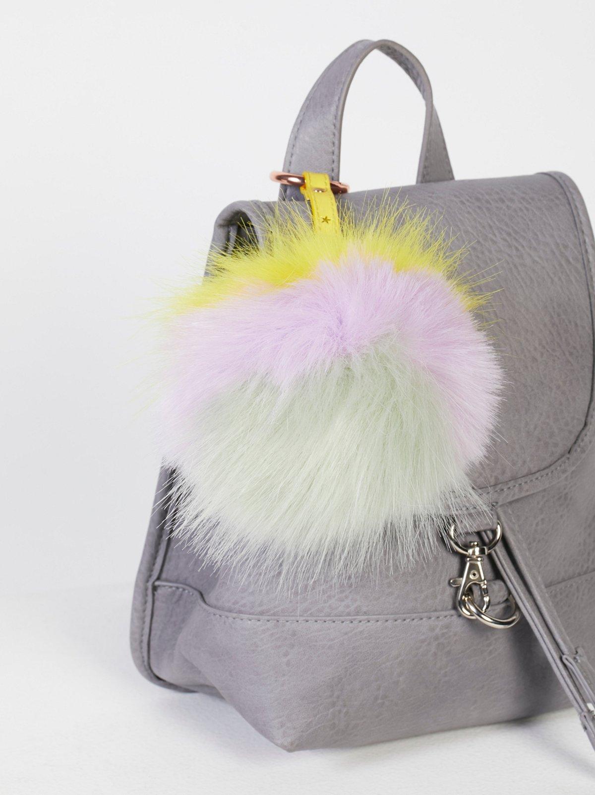 XL Faux Fur Pompom Bag Charm
