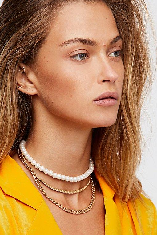 Product Image: Maya Pearl Chain Layered Collar