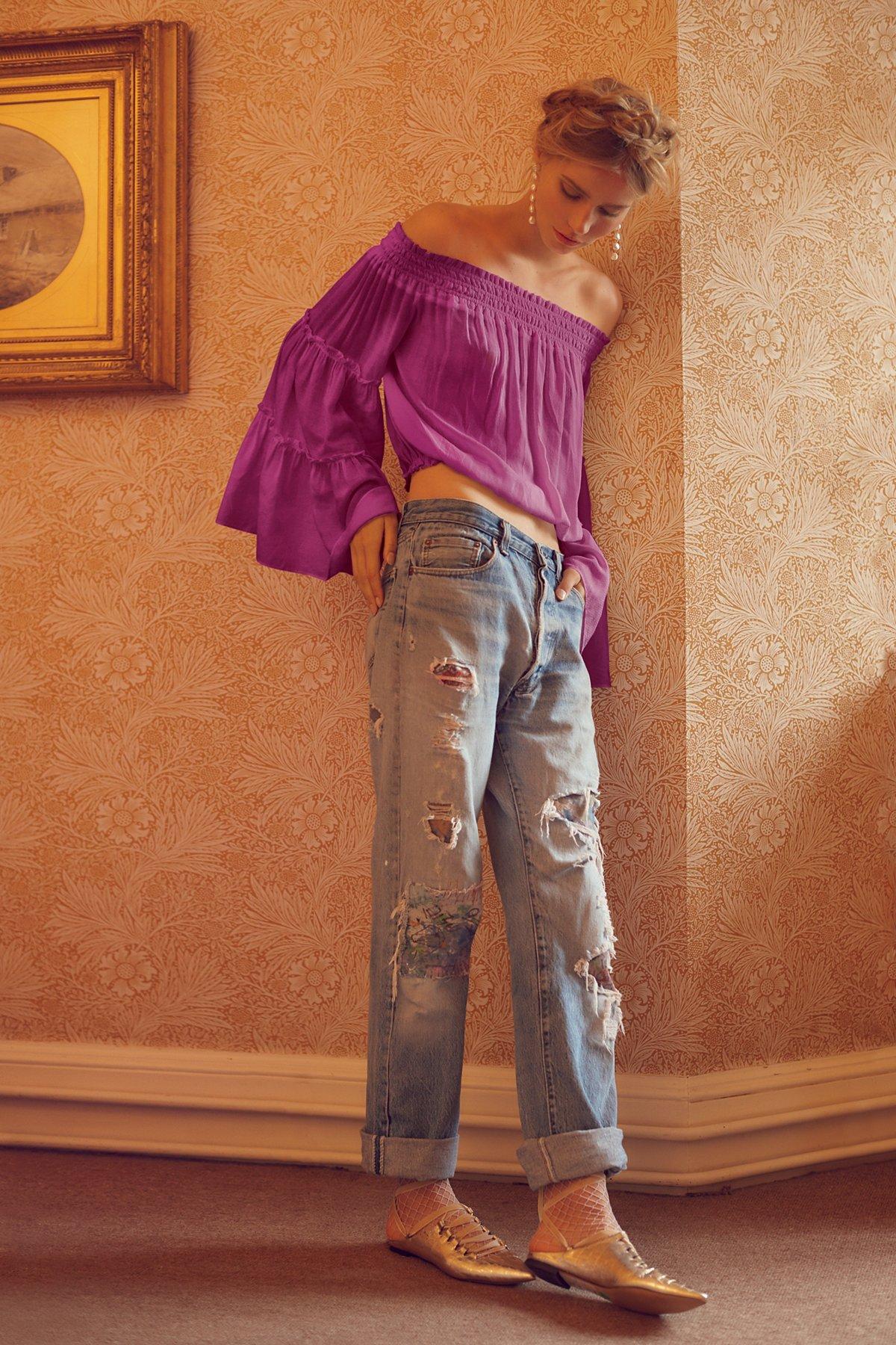 手绘和补丁男友风牛仔裤