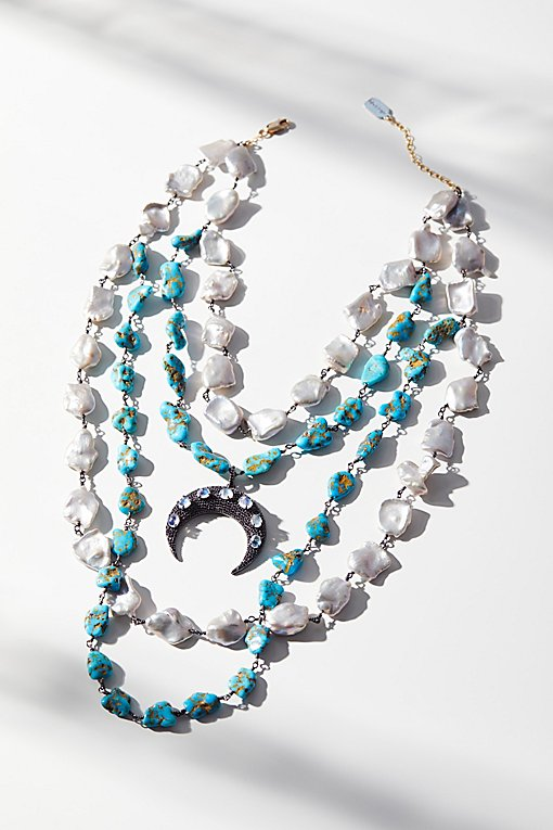 Product Image: Turquoise x Pearl Layered Moonstone Necklace