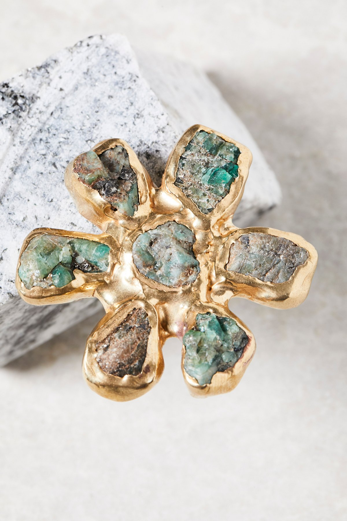 Dried Wildflower Stone Ring