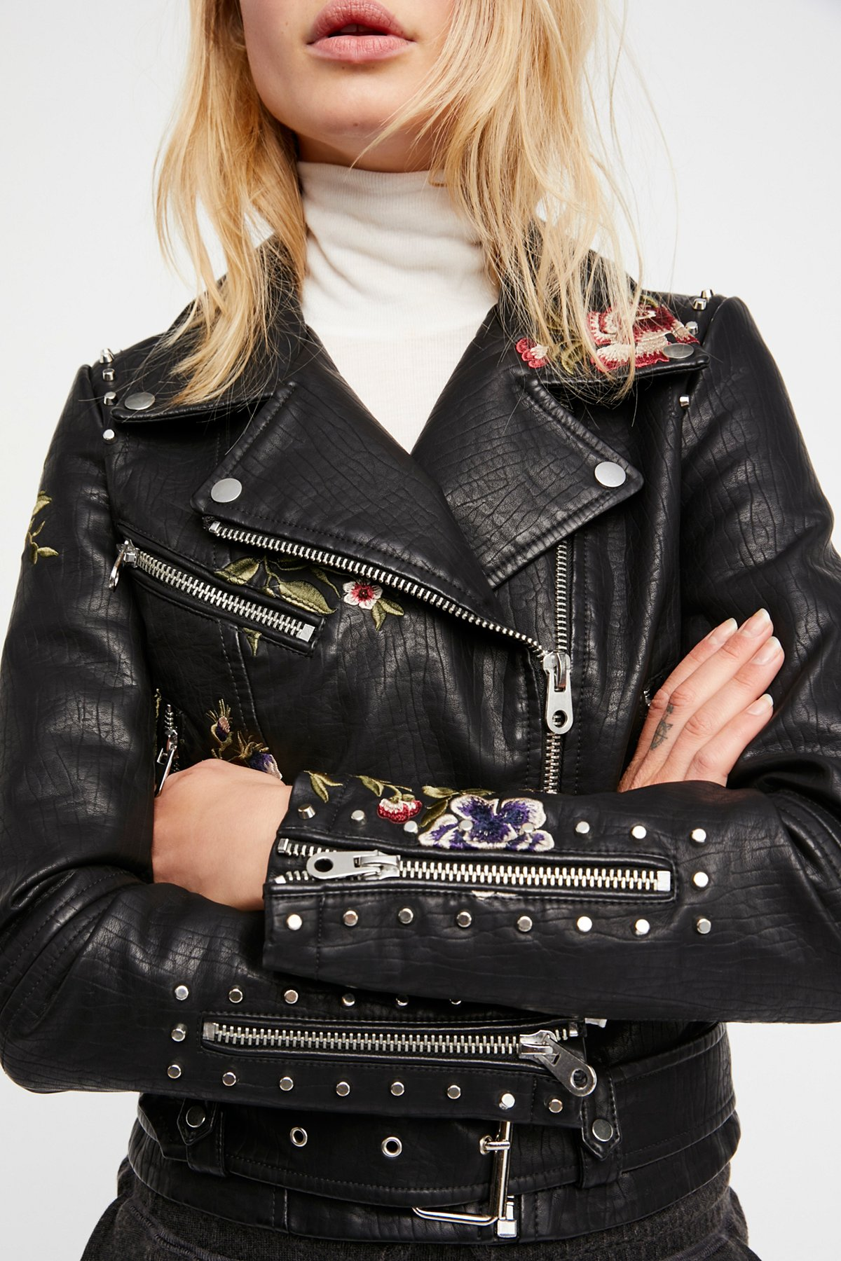 Faux Leather Embroidered Moto Jacket