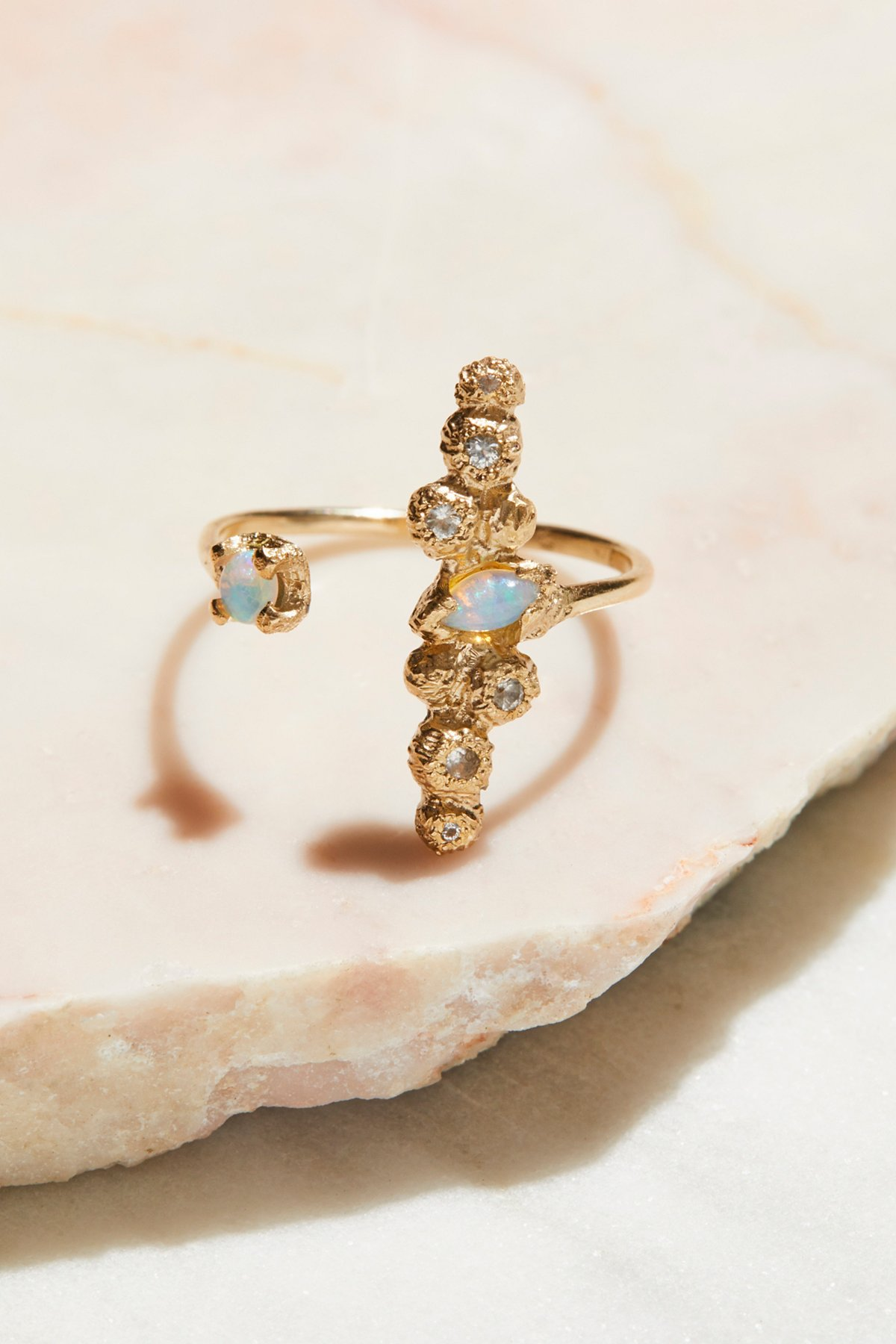 9k Opal x White Sapphire Cuff Ring