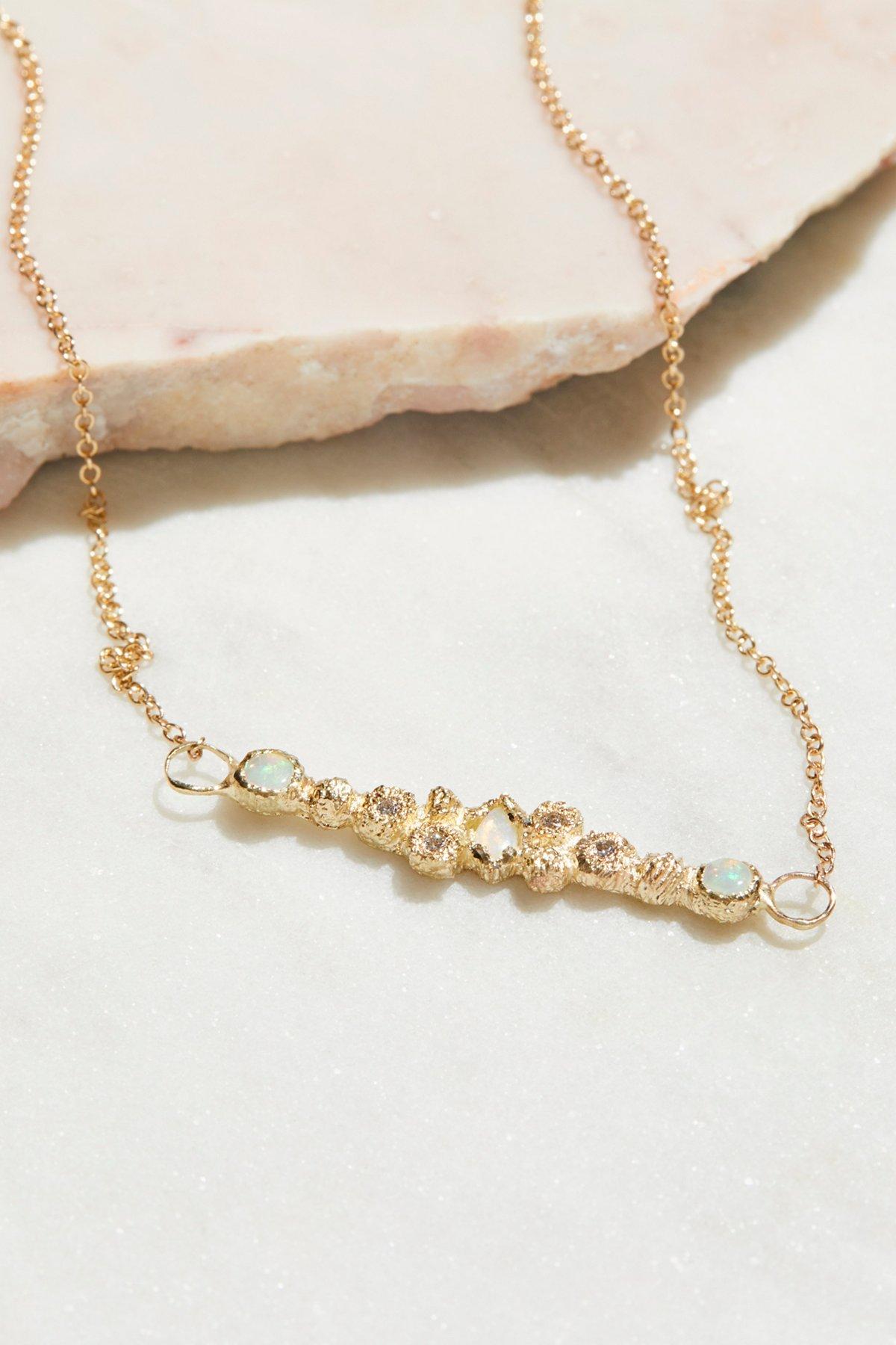 14k Meteorolite Opal Diamond Necklace