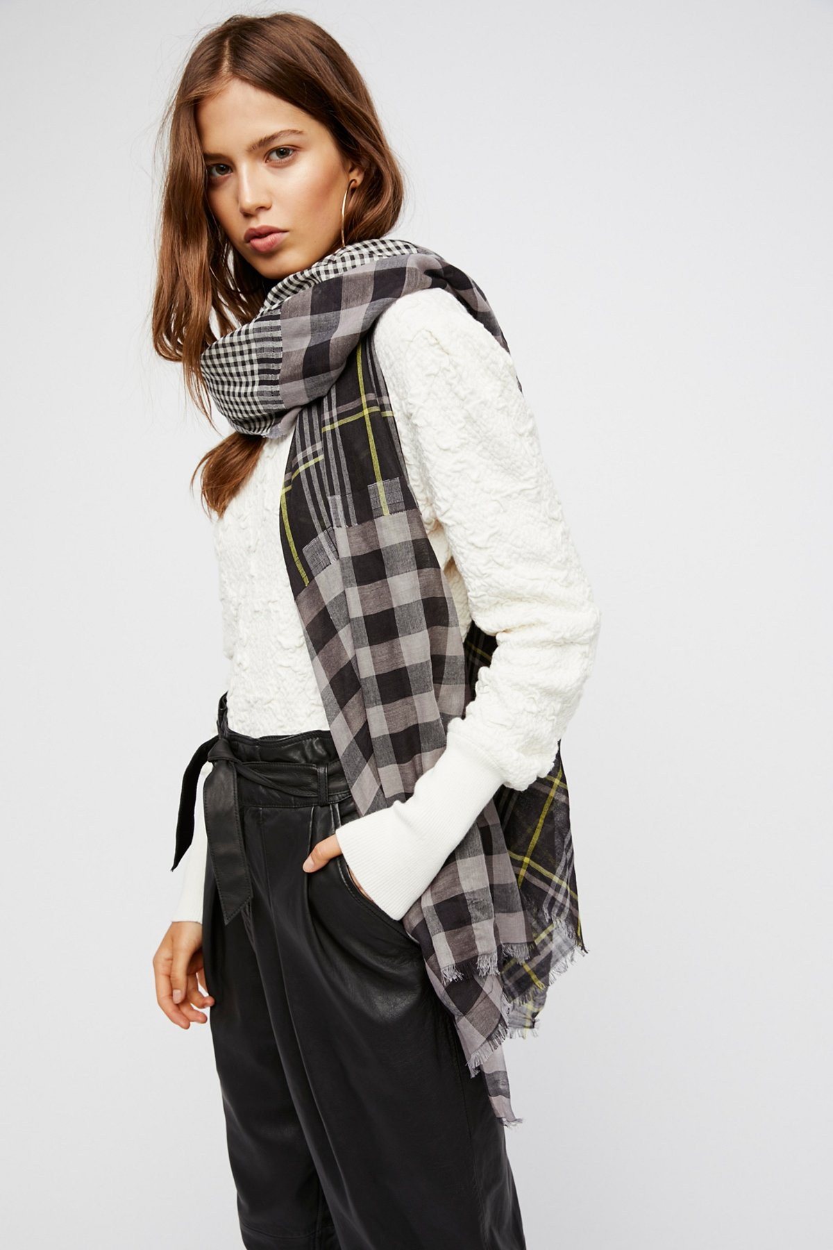 Check Yourself Patchwork Plaid Scarf