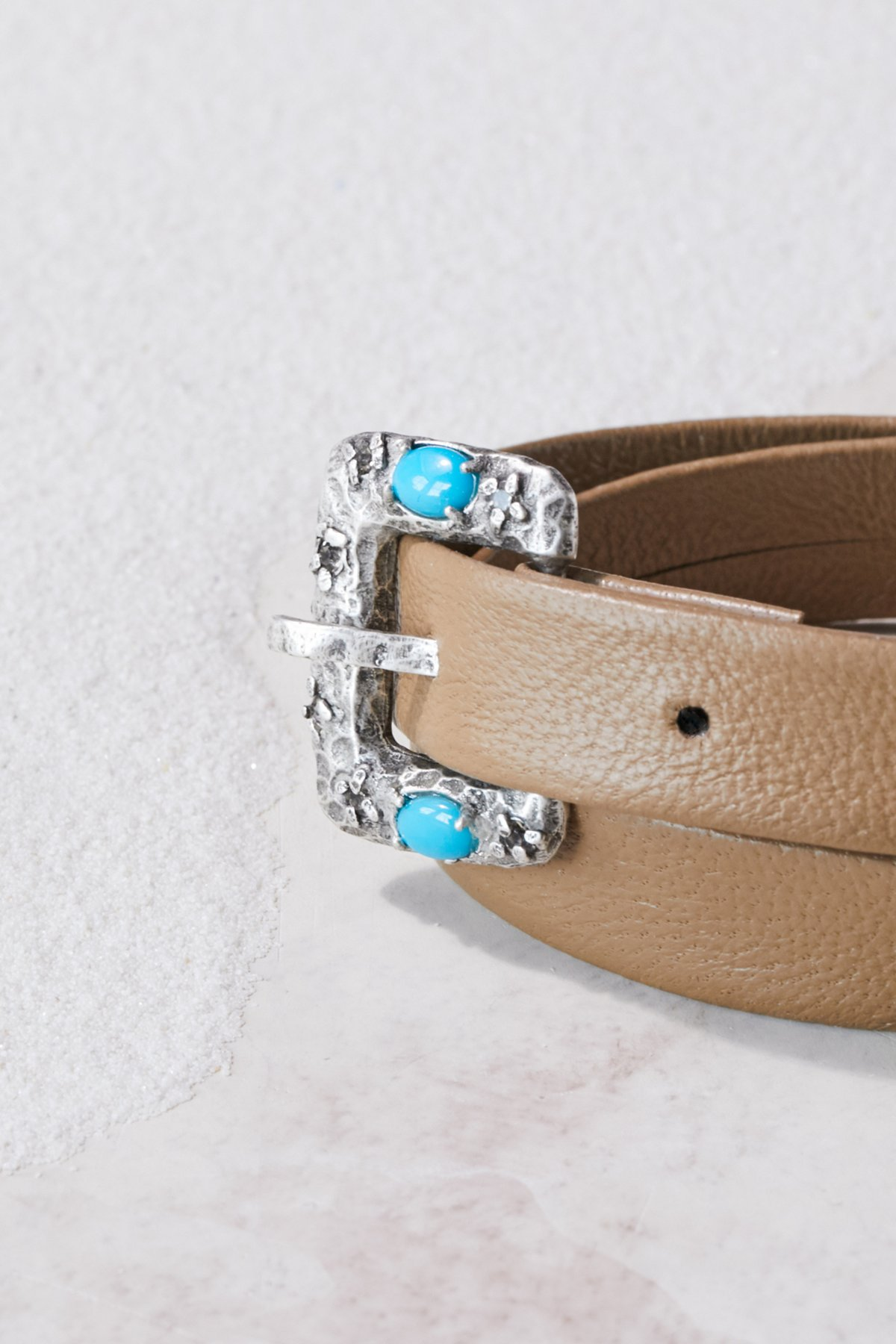 Swarovski Buckle Leather Wrap Cuff