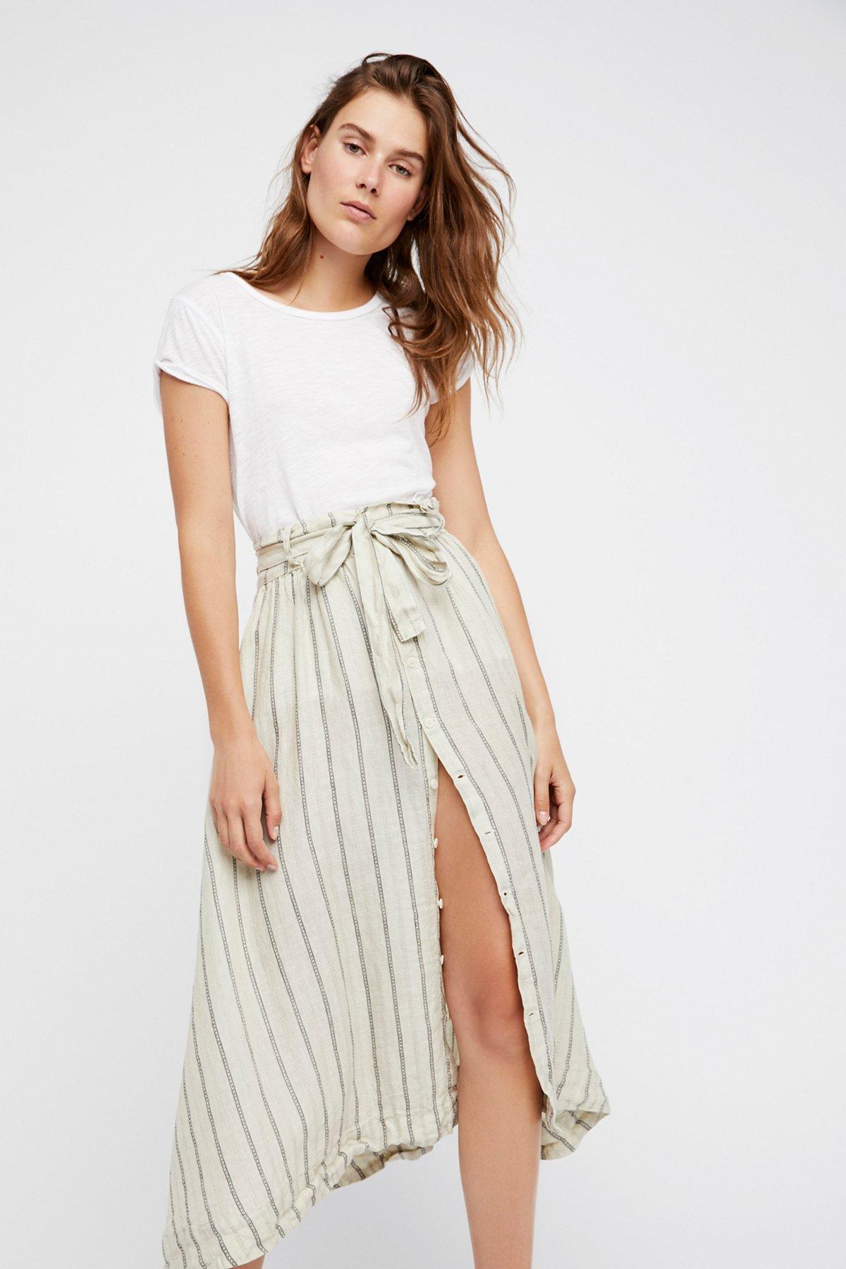 Tie Front Midi Skirt