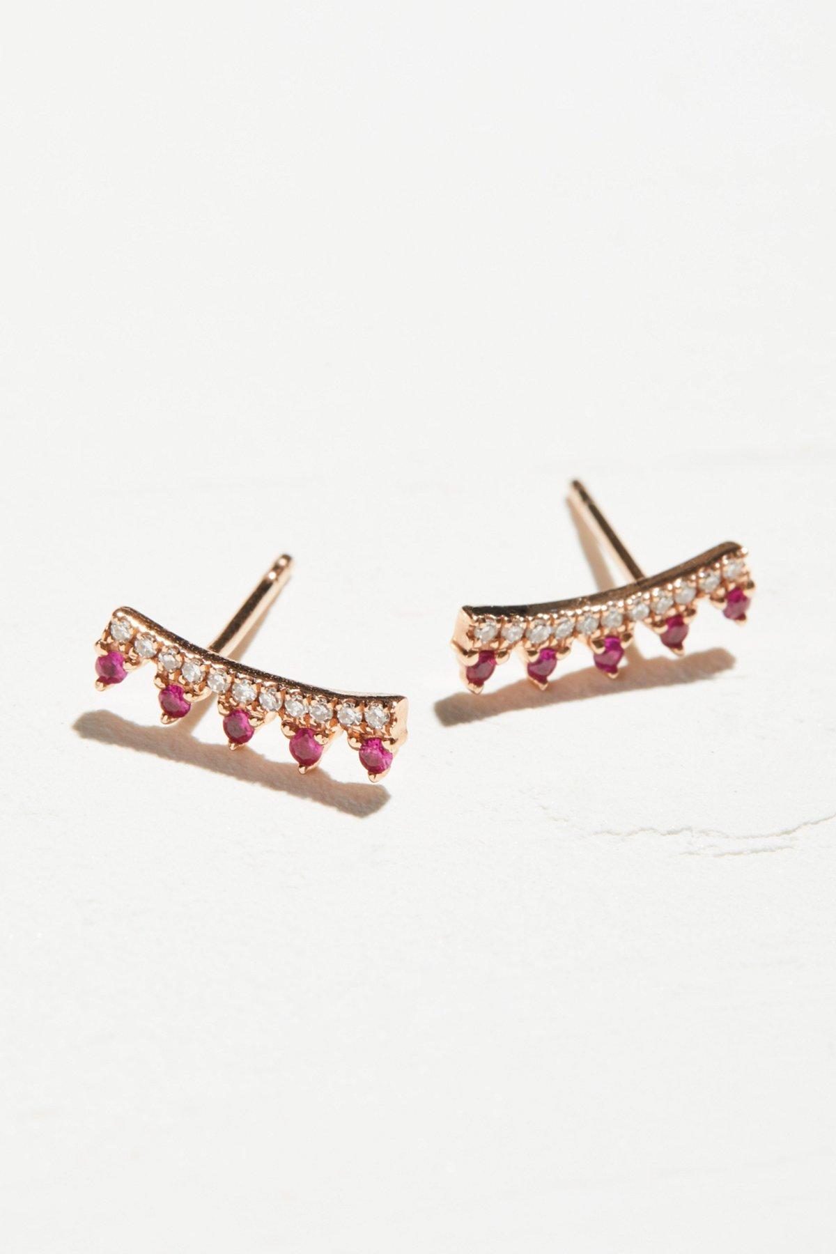 14k金红宝石和钻石少女耳夹