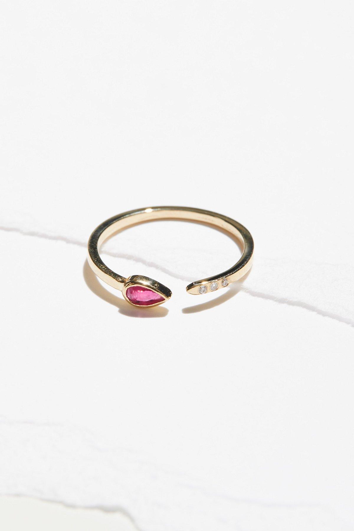 14k Ruby Astral 3 Diamond Ring