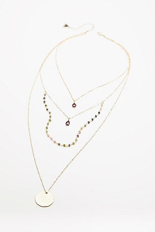 Product Image: Semiprecious Stone Coin Necklace