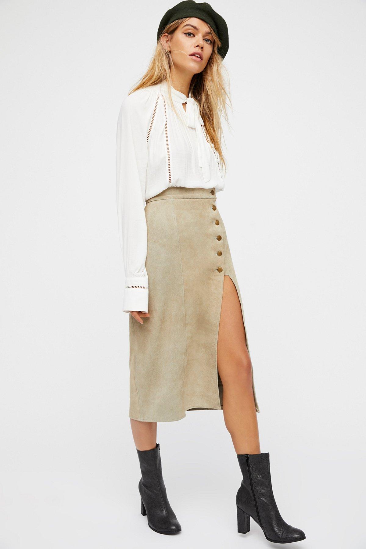 Brass Snap Midi Skirt