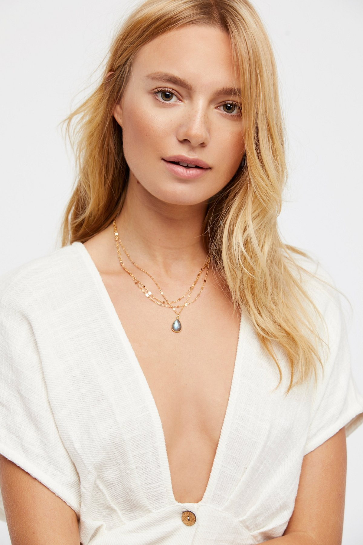 Triple Delicate Stone Necklace