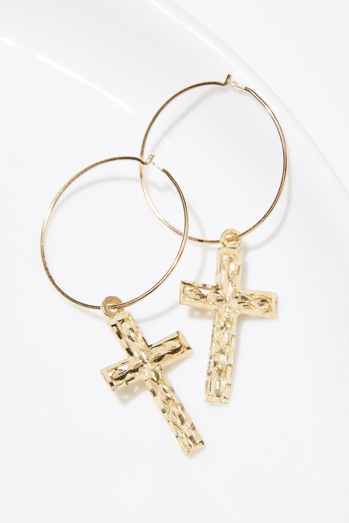 14k Casa Blanca Cross Hoops