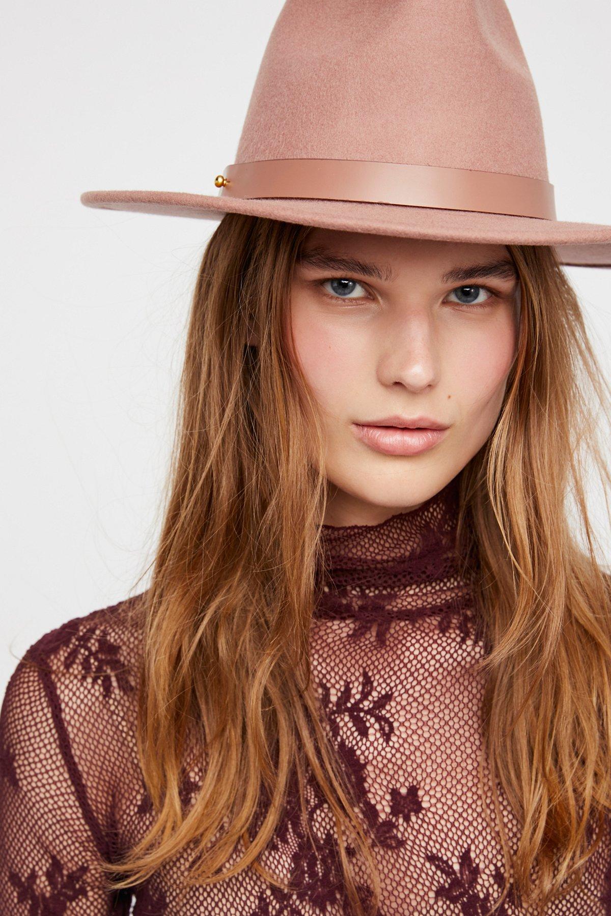 Fleur Leather Band Felt Hat