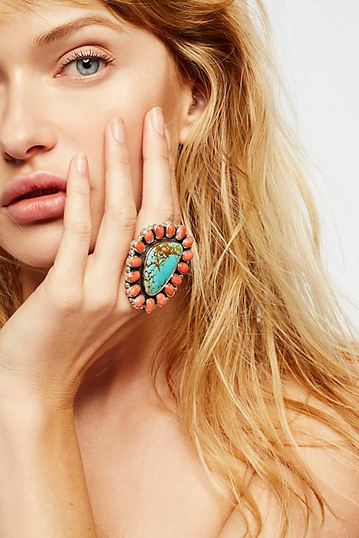Product Image: Pink Coral Turquoise Cluster Ring